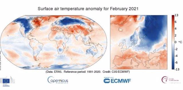 Anomalía de temperaturas en febrero de 2021