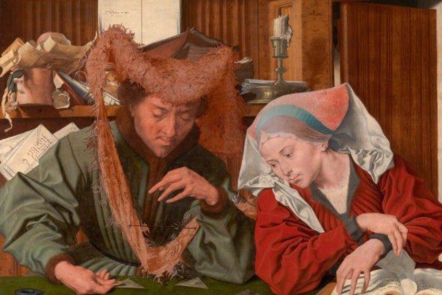 Detalle de 'El recaudador de impuestos y su mujer (conocido como El cambista y su mujer)', obra de Marynus