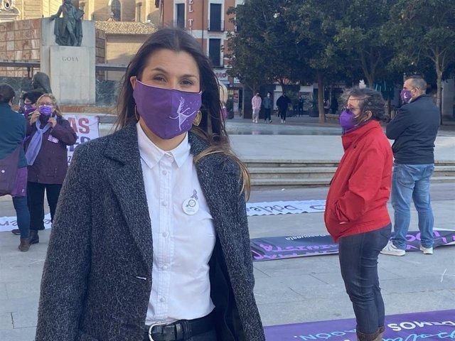 La portavoz de la Coordinadora de Organizaciones Feministas de Zaragoza, Medea Gracia.