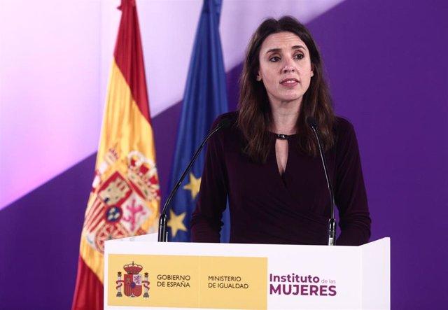 La ministra de Igualdad, Irene Montero, en el acto institucional con motivo del 8 de marzo de 2021.