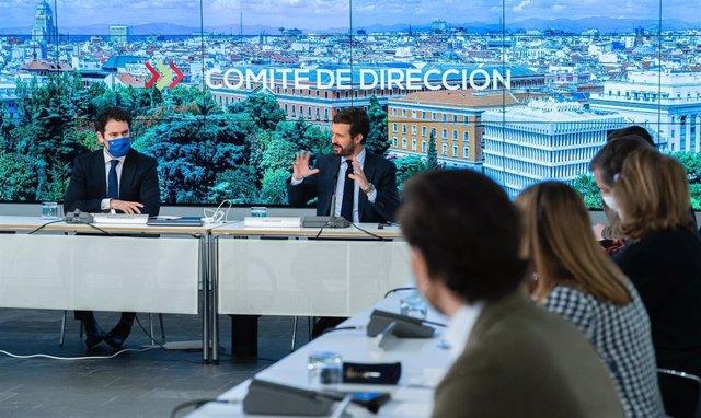 El líder del PP, Pablo Casado, reúne al comité de dirección del PP. En Madrid, a 26 de febrero de 2021.