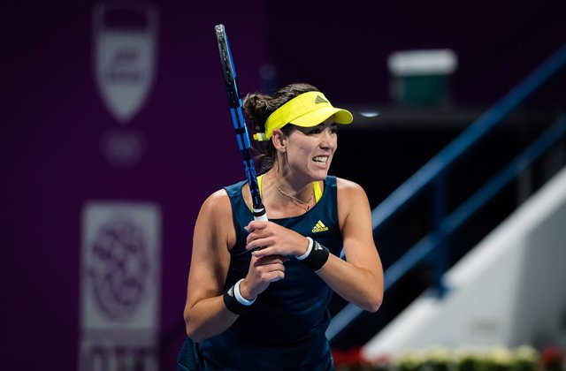 Petra Kvitova of the Czech Republic in action during the final of the 2021 Qatar Total Open WTA 500 tournament against Garbine Muguruza of Spain