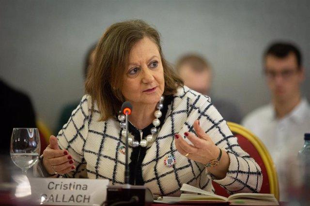 Archivo - Intervención de Cristina Gallach durante la jornada del Cidob 'War & Peace in the 21st Century'