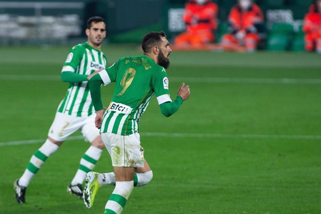 Celebrate score of Borja Iglesias of Real Betis during LaLiga, football match played between Real Betis Balompie and Getafe Club Futbol at Benito Villamarin Stadium on February 19, 2021 in Sevilla, Spain.