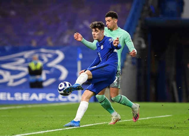 08 March 2021, United Kingdom, London: Chelsea's Kai Havertz scores but the goal is disallowed during the English Premier League soccer match between Chelsea and Everton at Stamford Bridge. Photo: Mike Hewitt/PA Wire/dpa