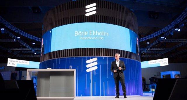 Archivo - Börje Ekholm, presidente y director ejecutivo de Ericsson, en el Mobile World Congress (MWC) de Barcelona de 2019