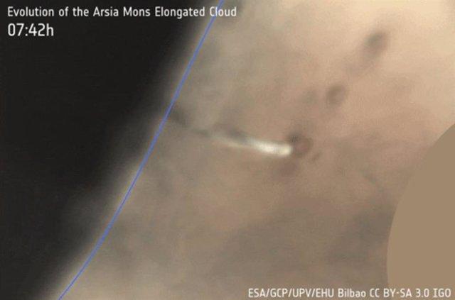 Evolución de la nube alargada junto a Arsia Mons