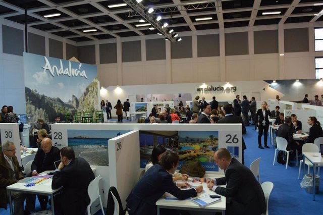 Archivo - Expositor Andaluciá ITB de Berlín 2014. Imagen de archivo.