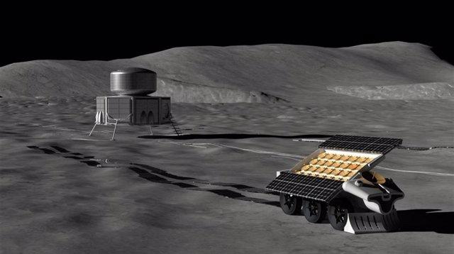 Representación artística de un robot colocando una antena en la superficie lunar.