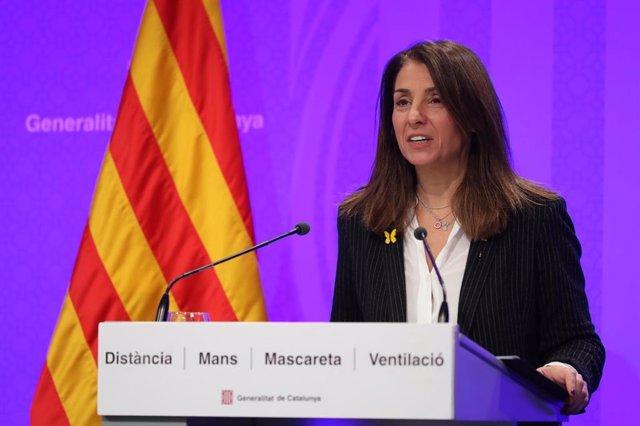 La consellera de Presidencia, Meritxell Budó, en rueda de prensa