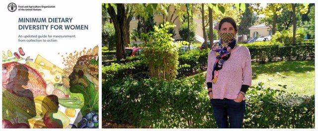 A  la izquierda, portada de la actualización de la guía de la FAO; a la derecha, Estefanía Custodio, investigadora del Centro Nacional de Medicina Tropical, en los jardines del ISCIII.