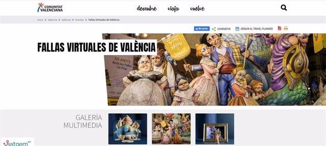 Pantallazo de la web de Turisme Comunitat Valenciana que ofrece la posibilidad de conocer las Fallas de forma digital