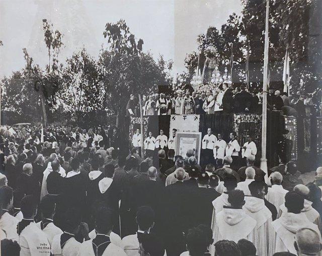 Acto de celebración de la concesión del patronazgo de la Virgen de los Desamparados como patrona de la Región Valenciana celebrado el 13 de mayo de 1961.