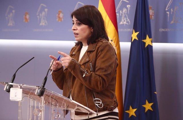 La portaveu parlamentària del PSOE, Adriana Lastra, en la conferència de premsa posterior a una reunió de la Junta de Portaveus (Arxiu)