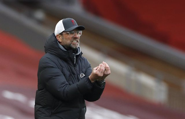 07 March 2021, United Kingdom, Liverpool: Liverpool's manager Jurgen Klopp reacts on the touchline during the English Premier League soccer match between Liverpool and Fulham at Anfield Stadium. Photo: Phil Noble/PA Wire/dpa