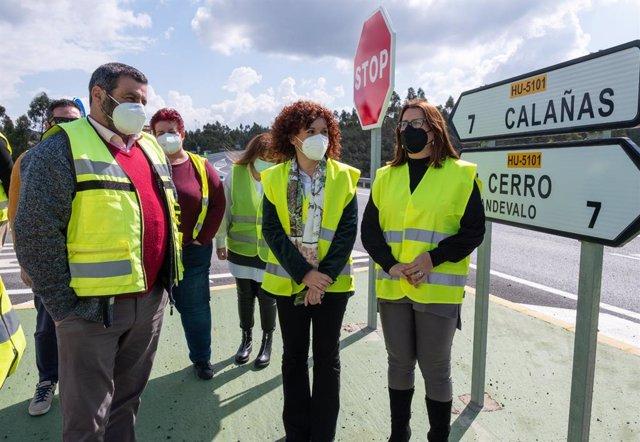 Visita al Andévalo de la presidenta de la Diputación de Huelva, María Eugenia Limón, para conocer las actuaciones de mejora en las carreteras del eje minero.