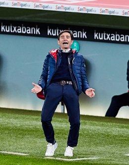Marcelino García Toral, entrenador del Athletic Club en el partido contra el Granada en el estadio de San Mamés de Bilbao.