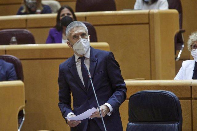 Archivo - El ministro de Interior, Fernando Grande-Marlaska interviene durante una sesión de control al Gobierno en el Senado, en Madrid (España), a 2 de febrero de 2021.
