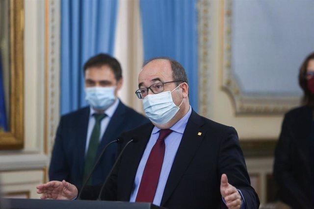 El ministro de Política Territorial y Función Pública, Miquel Iceta; interviene en el acto de toma de posesión de altos cargos del Ministerio de Política Territorial y Función Pública, en la sede ministerial, en Madrid (España), a 5 de marzo de 2021.