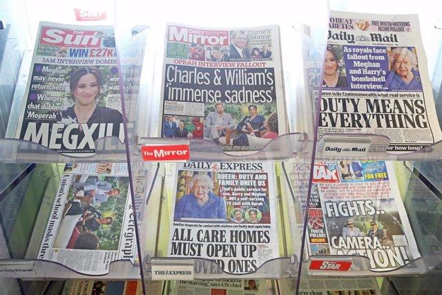 Portadas de periódicos británicos tras la entrevista de los duques de Sussex con Oprah Winfrey.