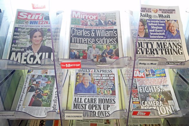 08 March 2021, United Kingdom, Dover: A general view of the front pages of newspapers on sale at a garage in Dover, Kent. The Duke and Duchess of Sussex have plunged the monarchy into a crisis, accusing an unnamed royal of racism, suggesting the family we