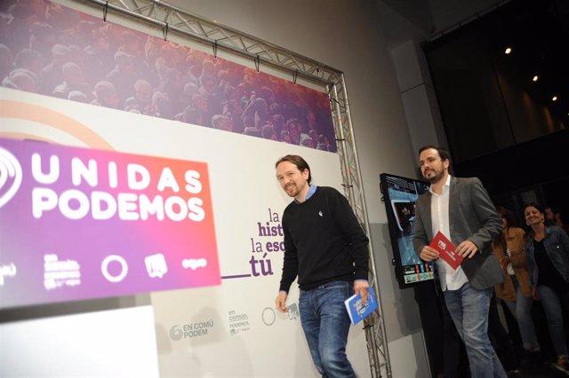 Archivo - Imagen de recurso del líder de Unidas Podemos, Pablo Iglesias, y el coordinador general de IU, Alberto Garzón.