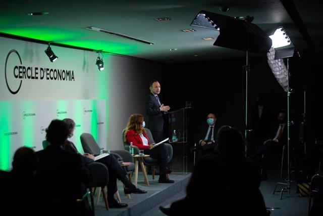 El cap de Govern d'Andorra, Xavier Espot, en la sessió presencial i telemàtica ?Andorra i el món: després de la pandèmia