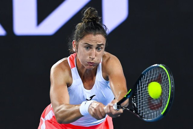 Sara Sorribes Tormo of Spain in action during her first Round Women's singles match against Daria Gavrilova of Australia on Day 2 of the Australian Open at Melbourne Park in Melbourne, Tuesday, February 9, 2021. (AAP Image/Dave Hunt) NO ARCHIVING, EDITORI