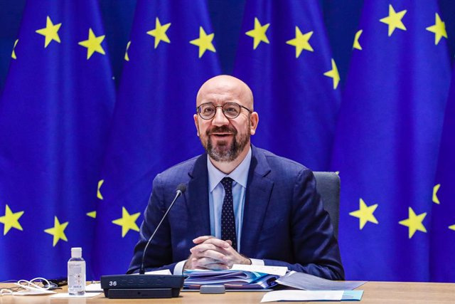 HANDOUT - 26 February 2021, Belgium, Brussels: The European Council President Charles Michel attends a video conference with the EU leaders on European security, defence policy and relations with their southern neighbours. Photo: Dario Pignatelli/European