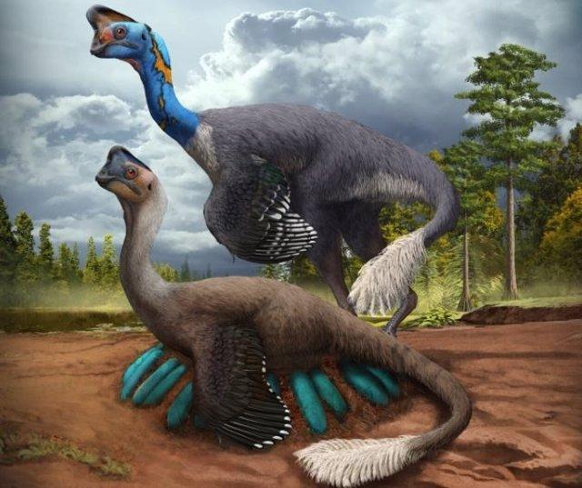 Un atento dinosaurio terópodo ovirraptórido incuba su nido de huevos azul verdosos mientras su compañero observa en lo que hoy es la provincia de Jiangxi, en el sur de China, hace unos 70 millones de años.