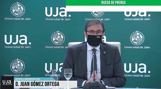 Juan Gómez, en la rueda de prensa telemática.