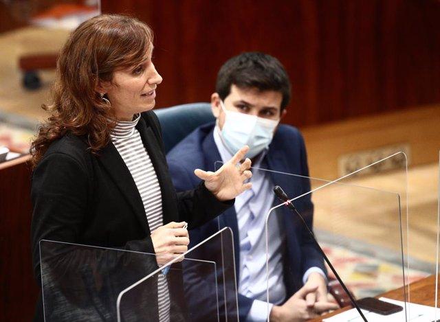 Archivo - La diputada de Más Madrid en la Asamblea de Madrid, Mónica García, interviene durante una sesión extraordinaria en la Asamblea de Madrid (España), a 21 de enero de 2021. En el pleno se debate la Declaración Institucional sobre zonas catastrófica