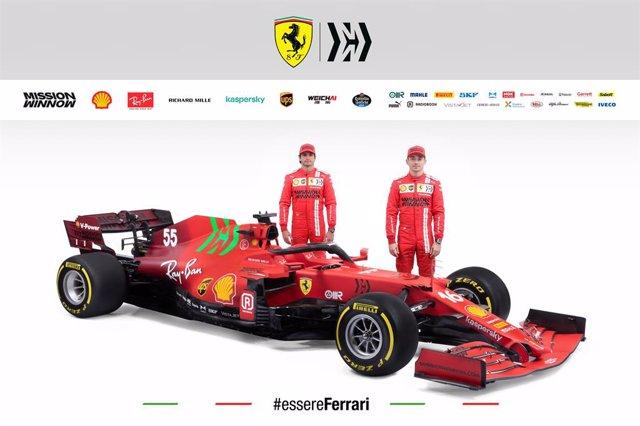 Presentación del SF21 de la escudería Ferrari, monoplaza con el que competirán en el Mundial 2021 de Fórmula 1 con los pilotos Carlos Sainz y Charles Leclerc