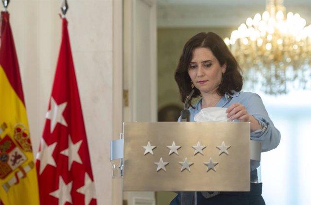 La presidenta de la Comunitat de Madrid, Isabel Díaz Ayuso, en una roda de premsa per convocar eleccions el 4 de maig. Madrid (Espanya), 10 de març del 2021.