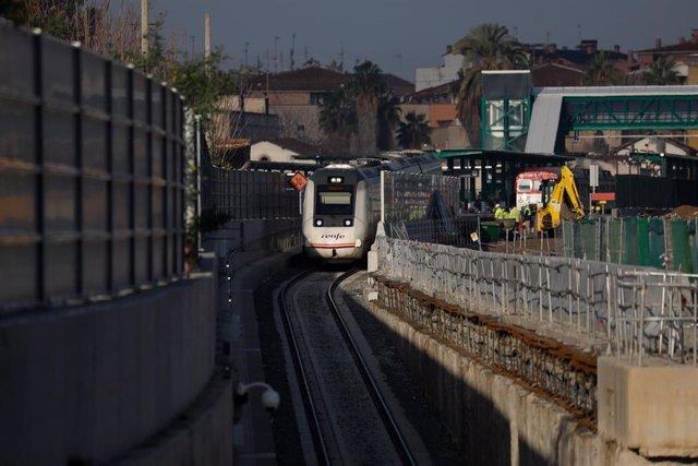 Imagen del inicio de la circulación de trenes en el túnel soterrado de la estación de El Carmen de Murcia