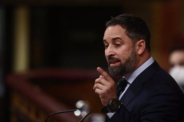 El líder de Vox, Santiago Abascal, en una sessió de control al Congrés. Madrid (Espanya), 24 de febrer del 2021.