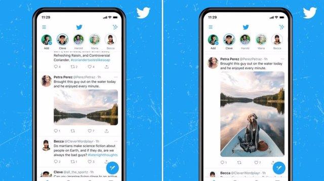 Nuevo diseño del timeline de Twitter para fotos y vídeos.