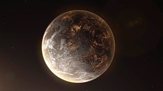 Recreación artística de un hipotético exoplaneta con luces artificiales en el lado nocturno