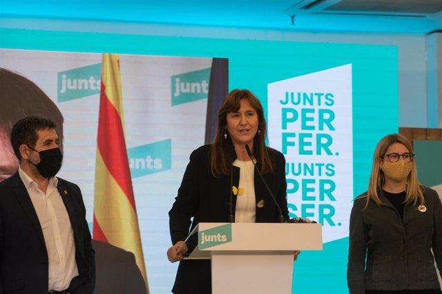 El secretario general de Junts, Jordi Sànchez, la candidata a la Generalitat, Laura Borràs, y la vicepresidenta del partido, Elsa Artadi, en una imagen de archivo.