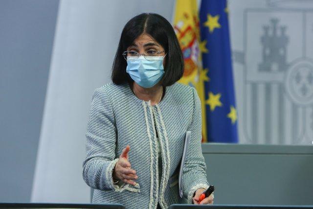 La ministra de Sanidad, Carolina Darias, tras ofrecer una rueda de prensa tras la reunión del Consejo Interterritorial de Salud, en Madrid, a 10 de marzo de 2021.