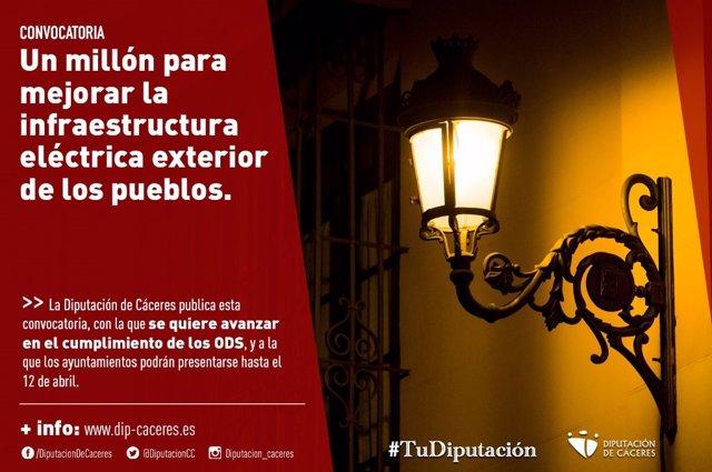 Cartel de la convocatoria de ayudas para mejorar las infraestructuras eléctricas en los municipios de la provincia de Cáceres