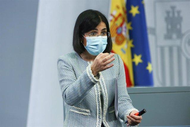 La ministra de Sanidad, Carolina Darias, tras ofrecer una rueda de prensa tras la reunión del Consejo Interterritorial de Salud, en Madrid (España), a 10 de marzo de 2021.