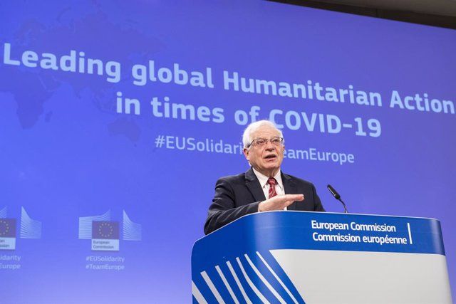 HANDOUT - 10 March 2021, Belgium, Brussels: European Union foreign policy chief Josep Borrell speaks during a press conference at the EU headquarters on the new outlook for the EU's humanitarian action in light of COVID-19. Photo: Lukasz Kobus/European Co