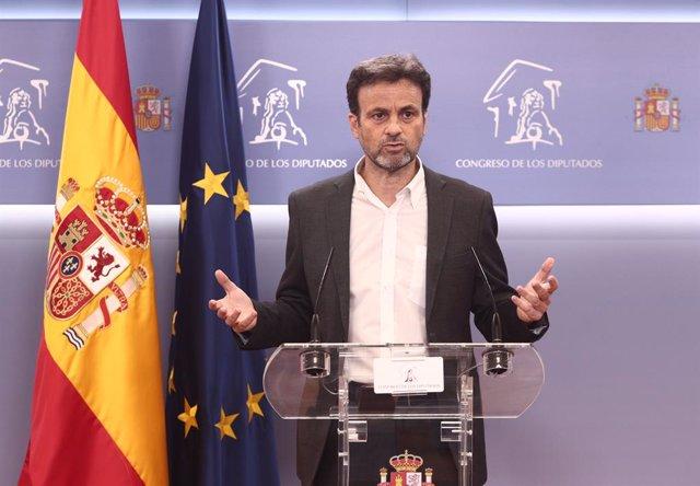 El president del Grup Unides Podem al Congrés, Jaume Asens, en una roda de premsa després de la Junta de Portaveus al Congrés dels Diputats. Madrid (Espanya), 16 de febrer del 2021.