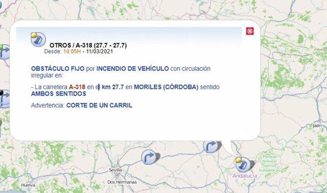 Mapa que indica el lugar del incendio del camión en la A-318, en Moriles.