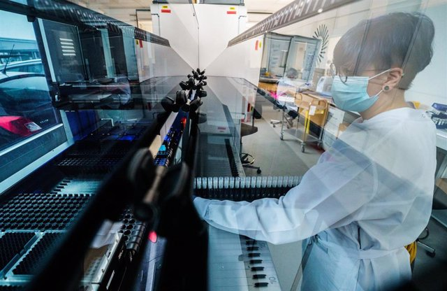 Archivo - 01 February 2021, Rhineland-Palatinate, Ingelheim: An employee works on laboratory equipment in a Bioscientia laboratory, one of the largest laboratories in Germany. Bioscientia uses automated sequencing machines to help with the analysis of the