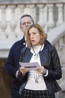Archivo - Arxiu - L'expresidenta del Parlament, Carme Forcadell, en un acte unitari dels partits independentistes als Jardins del Palau Robert de Barcelona. Catalunya (Espanya), 1 de febrer del 2021.