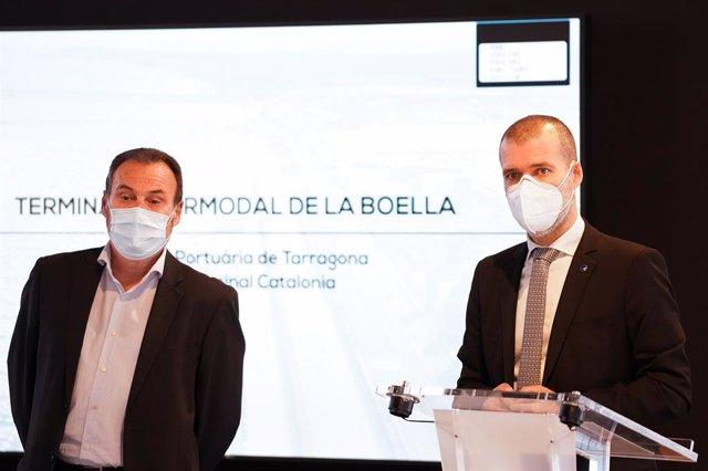 El president del Port de Tarragona, Josep M. Cruset, i el representant executiu de Combi Terminal Catalonia, Antoni Torà.
