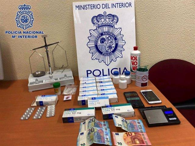Imagen de la droga intervenida en el  punto de menudeo de droga en Palencia.