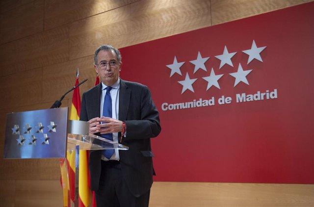 El consejero y portavoz del Gobierno de la Comunidad de Madrid, Enrique Ossorio